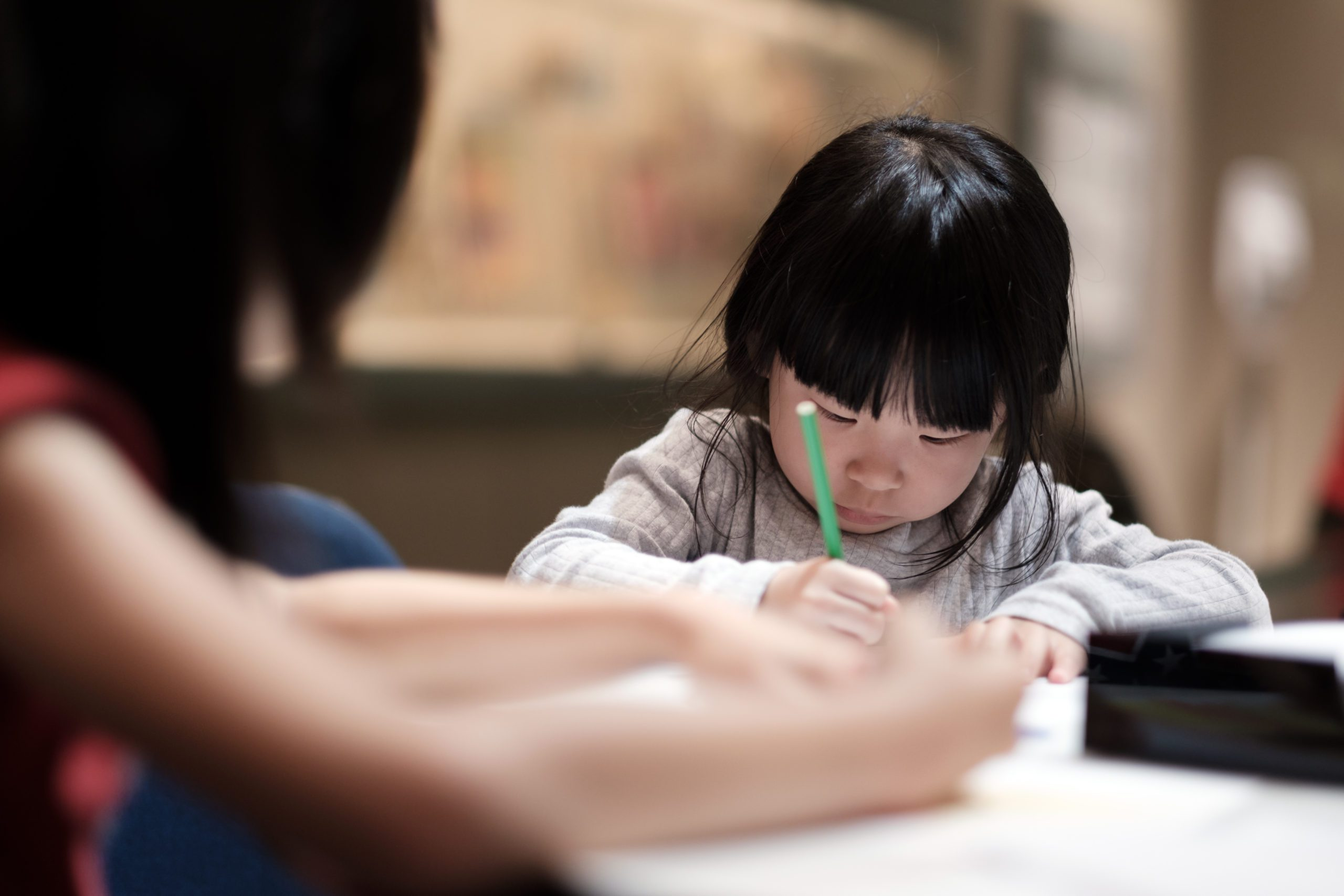 Young child with homework